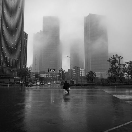 Monochrome Urban Lonely Road