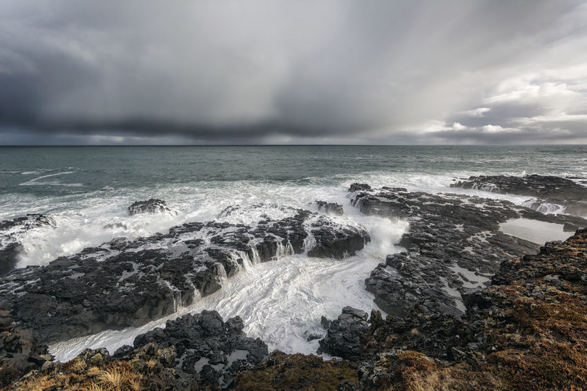 Landscape in Iceland Beauty In Nature Cloud Cloud - Sky Cloudy Coastline Day Horizon Over Water Idyllic Motion Nature No People Outdoors Power In Nature Rock - Object Rock Formation Scenics Sea Seascape Shore Sky Splashing Tranquil Scene Tranquility Water Wave
