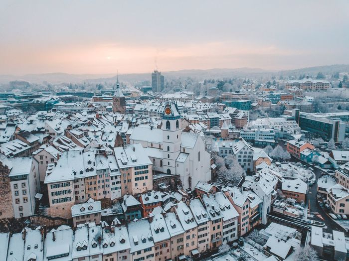 Snow in Aarau Winter Aarau Switzerland Swiss Architecture Sky Built Structure Cityscape City Building Exterior Building Landscape Snow Crowd Travel Destinations Aerial View Residential District Crowded High Angle View Travel Environment Outdoors Office Building Exterior Nature