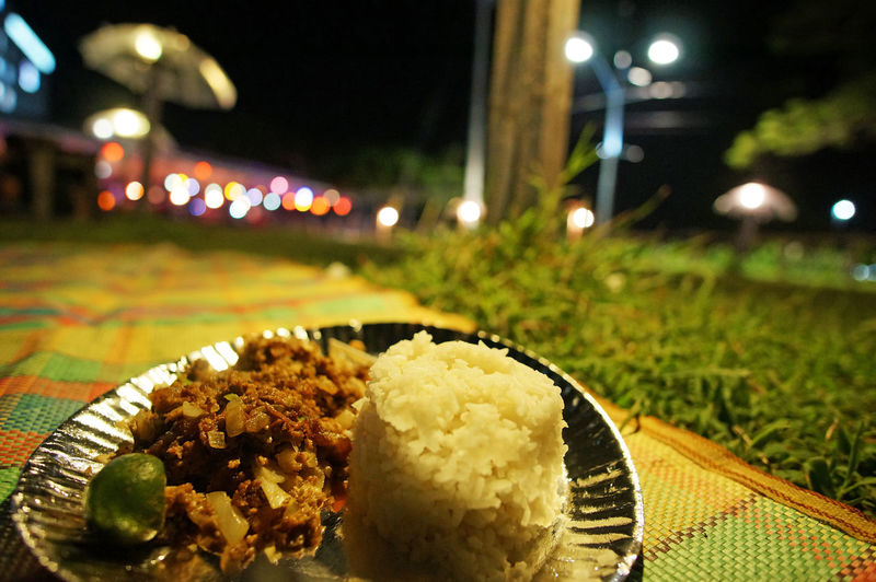 Food Plate Close-up Meat Road Side Filipino Food Philippines Food Park Food Bazaar Outdoors Nightlife Sisig Rice