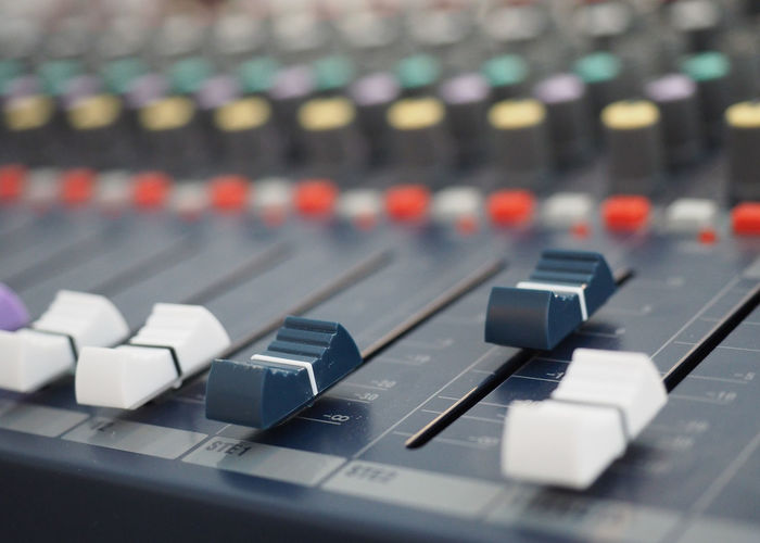 Adjustable sound mixer Arts Culture And Entertainment Audio Equipment Close-up Communication Connection Control Control Panel Focus On Foreground In A Row Indoors  Keyboard Mixing Music No People Push Button Recording Studio Selective Focus Sound Mixer Sound Recording Equipment Still Life Studio Technology