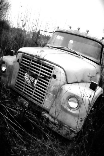 Outdoors Abandoned Black & White Rusty Metal International Truck Rural Scenes