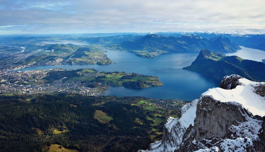 Lucerne, Switzerland Pilatus Mt. Beauty In Nature Cloud - Sky Cold Temperature Day Landscape Mountain Nature No People Outdoors Scenics Sea Sky Tranquil Scene Tranquility Water