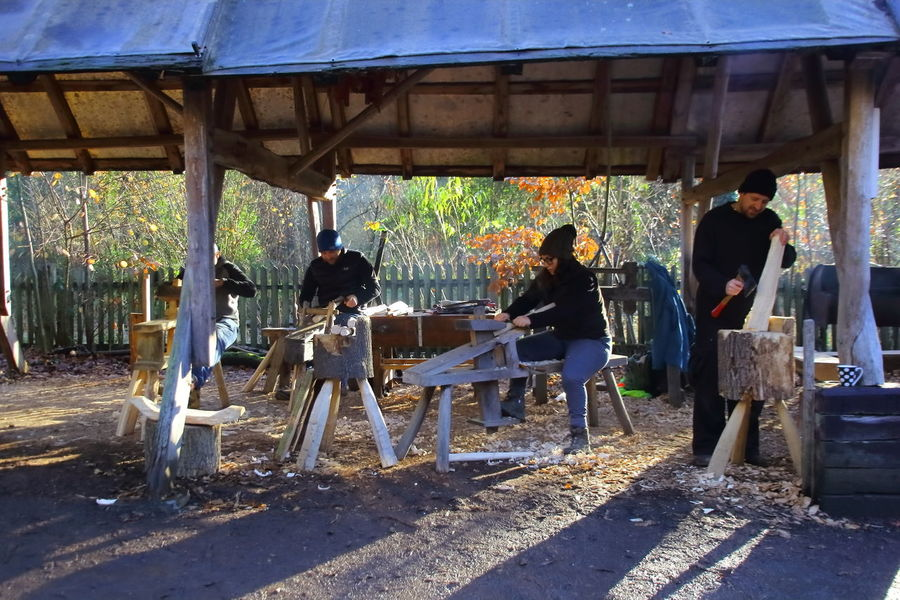 woodworkers working outside Artisans Cold Day Day Outdoors People Real People Shadows Sheltering Sitting Standing Woodworkers Woodworking Tools