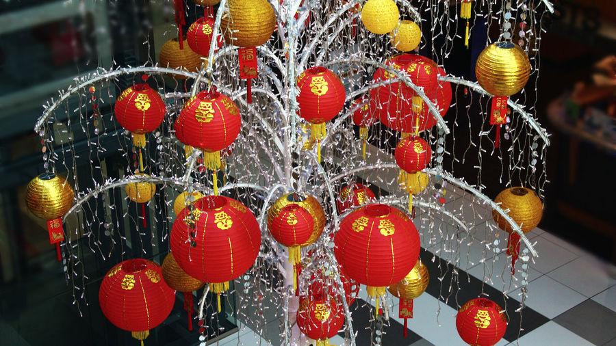 Chinese new years decoration in Surrey Central mall. Surrey, Bc Surrey B.C Chinese Decorations Hanging Heart Shape Love Large Group Of Objects No People Day Outdoors