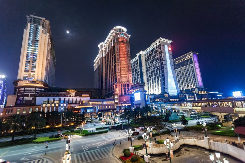 Sands Cotai Central is a casino resort on the Cotai Strip, including the world's largest Holiday Inn, Conrad, and Sheraton Architecture Building Exterior Casino Casino Night City Conrad Cotai Cotai Strip CotaiStripMacau Entertainment Holiday Inn Illuminated Macao  Macao China Macau Macau, China Night Outdoors Road Sands Sheraton Sky Skyscraper Transportation Travel Destinations