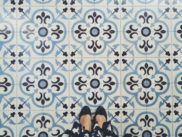 EyeEm Selects Day Summer Feet Flora Foral Flower Dress Fashion Woman Lady Floor Textiles Selfıe Texture Pattern Art Vintage Blue Shoes Top View