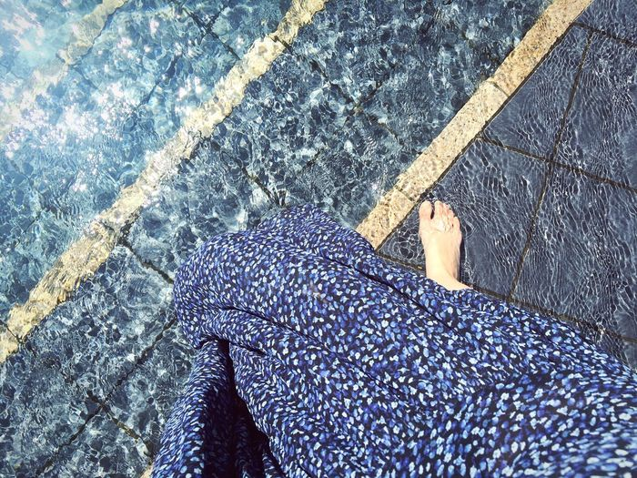 Blue everything Summer EyeEm Best Shots Water Pool Blue Day High Angle View One Person Real People Human Body Part Lifestyles Human Leg Pattern