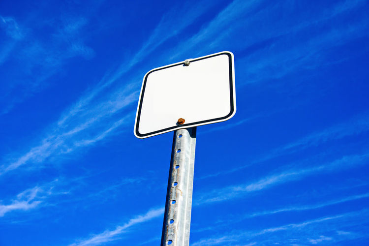 Copy Space Backgrounds Blank Blue Day No People Outdoors Road Sign Sky
