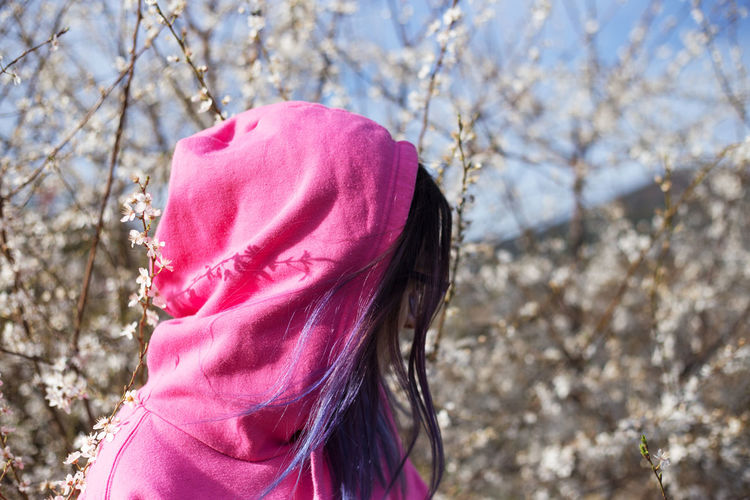 Girls Hairstyle Lifestyles Nature Outdoors Pink Color Plant Spring Springtime