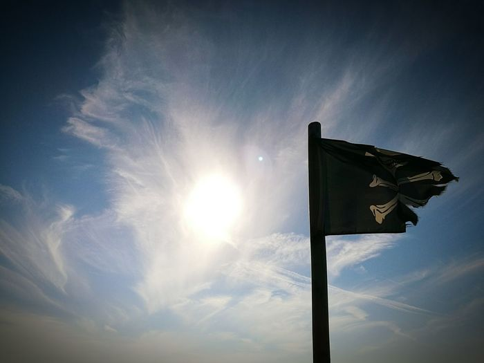 Low angle view of pirate flag against sky