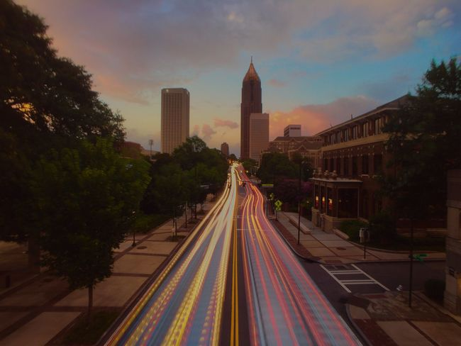 Atlanta at dusk Check This Out The Journey Is The Destination On The Way Light Trails Atlanta Atlanta Ga Showcase July Enjoying Life Cloudy Sunset Hanging Out Industrial Landscapes Industrial Photography Georgia Tech Coming And Going