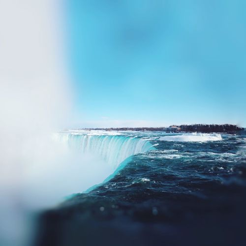 Niagara Falls, Winter 2015. Water Nature Beauty In Nature Scenics Outdoors Day Motion Sea No People Blue Winter Sky Clear Sky Waterfall Cold Temperature Close-up Iceberg Canada Niagara Falls Waterfalls