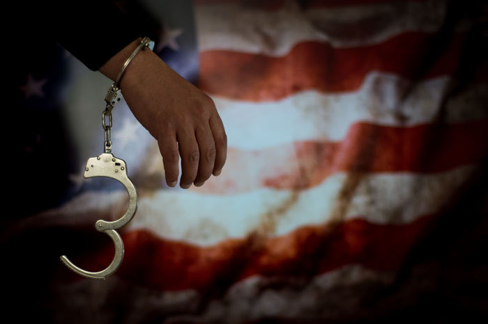 America American American Flag Bribe Murder Prisoner Escape Handcuffs  Justice Law Prison Thief Legal Trial Courthouse Judge - Law Justice - Concept Police Car Hostage Legal System Handcuffs  Hand