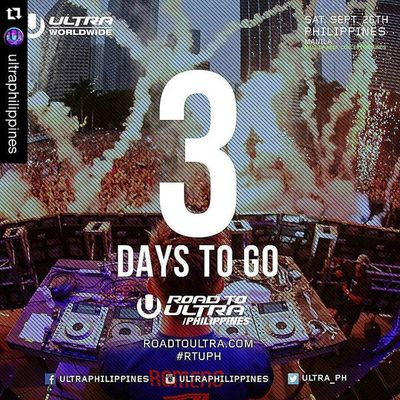 Roadtoultraphilippines2015 Repost @ultraphilippines with @repostapp ・・・ We are exactly 3 days away from the very first Road to Ultra Philippines!! Are you excited yet? We're getting closer and closer to September 26, so you better get your tickets now! For table reservations or other inquires contact 09288655133 RTUPH Smartroadtoultraph Skrillex  Feddelegrand Wegogrand WandW Atrak Vicetone Mija Zedsdead