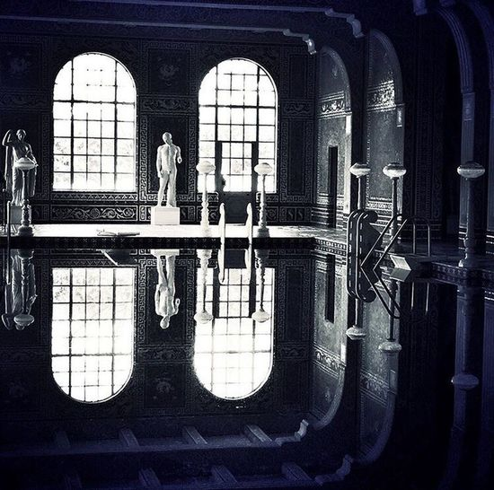 Roman Pool, Hearst Castle Blackandwhite Photography Black & White Black And White Blackandwhite Mirrored Reflection Reflection_collection Reflections Reflections In The Water Pool Hearst Castle Roman Statue Abstract Lines, Shapes And Curves Mirrorreflection Ancient Architecture
