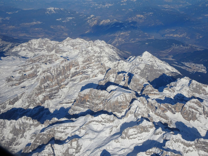 Dolomites, Italy Aerial View Beauty In Nature Cold Temperature Day Landscape Mountain Nature No People Outdoors Scenics Sky Snow