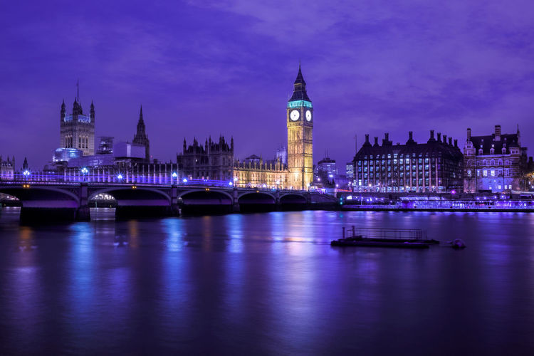 Big Ben Thames River Westminster Bridge Architecture Bridge - Man Made Structure Building Exterior Built Structure City City Life Cityscape Clock Clock Tower Connection Dusk Famous Place Government Illuminated Night No People Politics And Government Reflection River Tower Urban Skyline Water Postcode Postcards