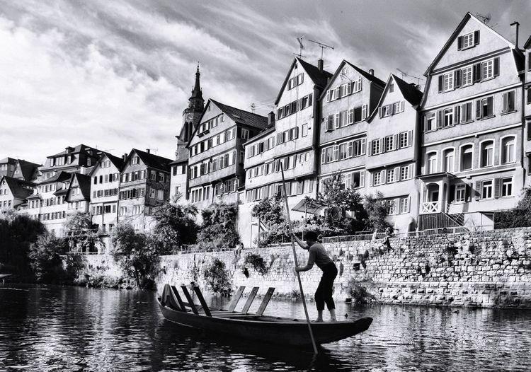 Black & White Blackandwhite Tübingen Neckar Neckarzeile Bootsfahrt Stocherkahn Stocherkahnahrt