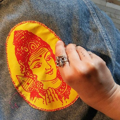 I ll pray for you jacket//work in progress India Jacket Jeans Giubbotto personalizzazione divinitá art abbigliamento krishna visnu diesel vintage newlife clorophillaart
