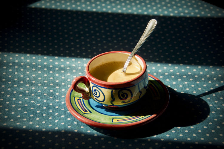 Table Drink Food And Drink Cup Of Coffee Cup Summertime Day Blue Table Tablecloth Shadow No People Spoon
