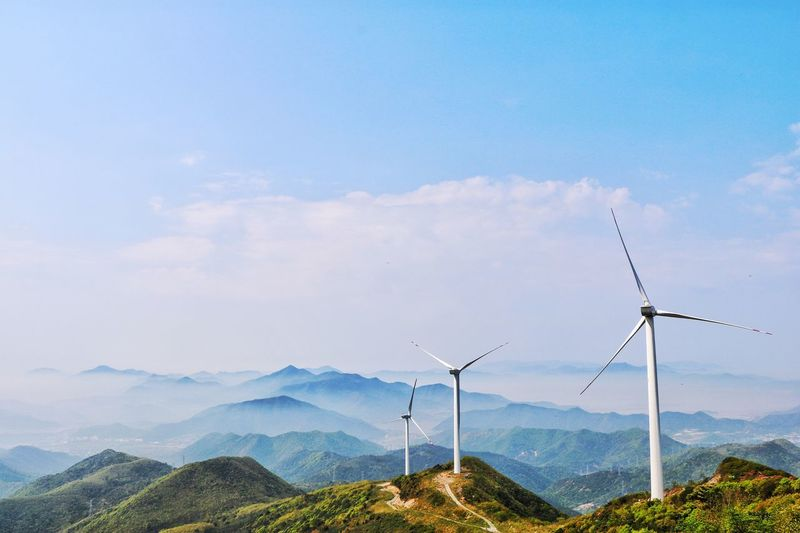 宁波象山 Mountain Alternative Energy Environmental Conservation Nature Wind Turbine Renewable Energy Wind Power Fuel And Power Generation Sky Beauty In Nature Mountain Range Windmill Scenics No People Day Landscape Outdoors Cloud - Sky Tranquility Industrial Windmill