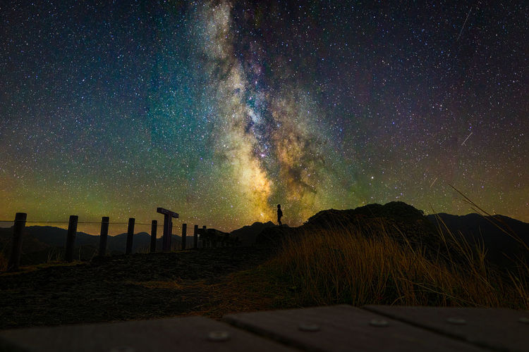 One person standing on the summit and starry sky at ogasawara