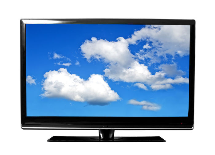 Cloud - Sky Communication Day Device Screen Electronics Industry Flat Screen Global Communications Liquid-crystal Display No People Sky Technology Telecommunications Equipment Television Set White Background Wide Screen
