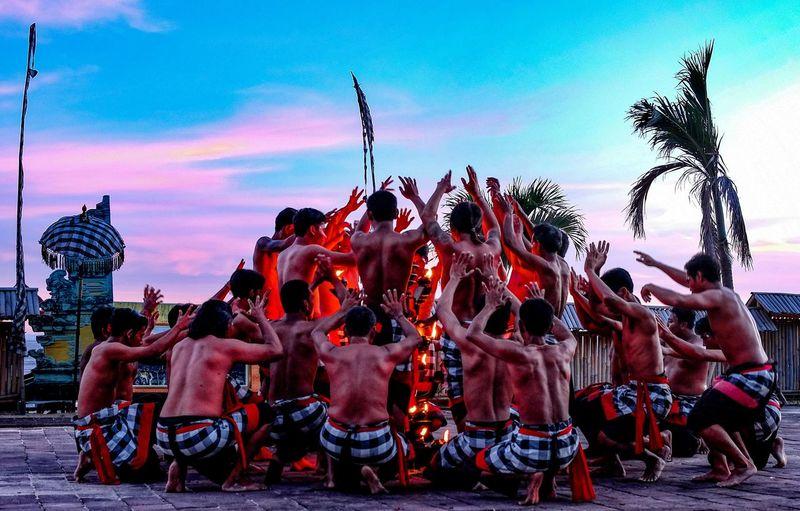 Kecak Dance, Bali, Indonesia Dancer Dancers Large Group Of People Men Nature Outdoors Real People Sky Togetherness