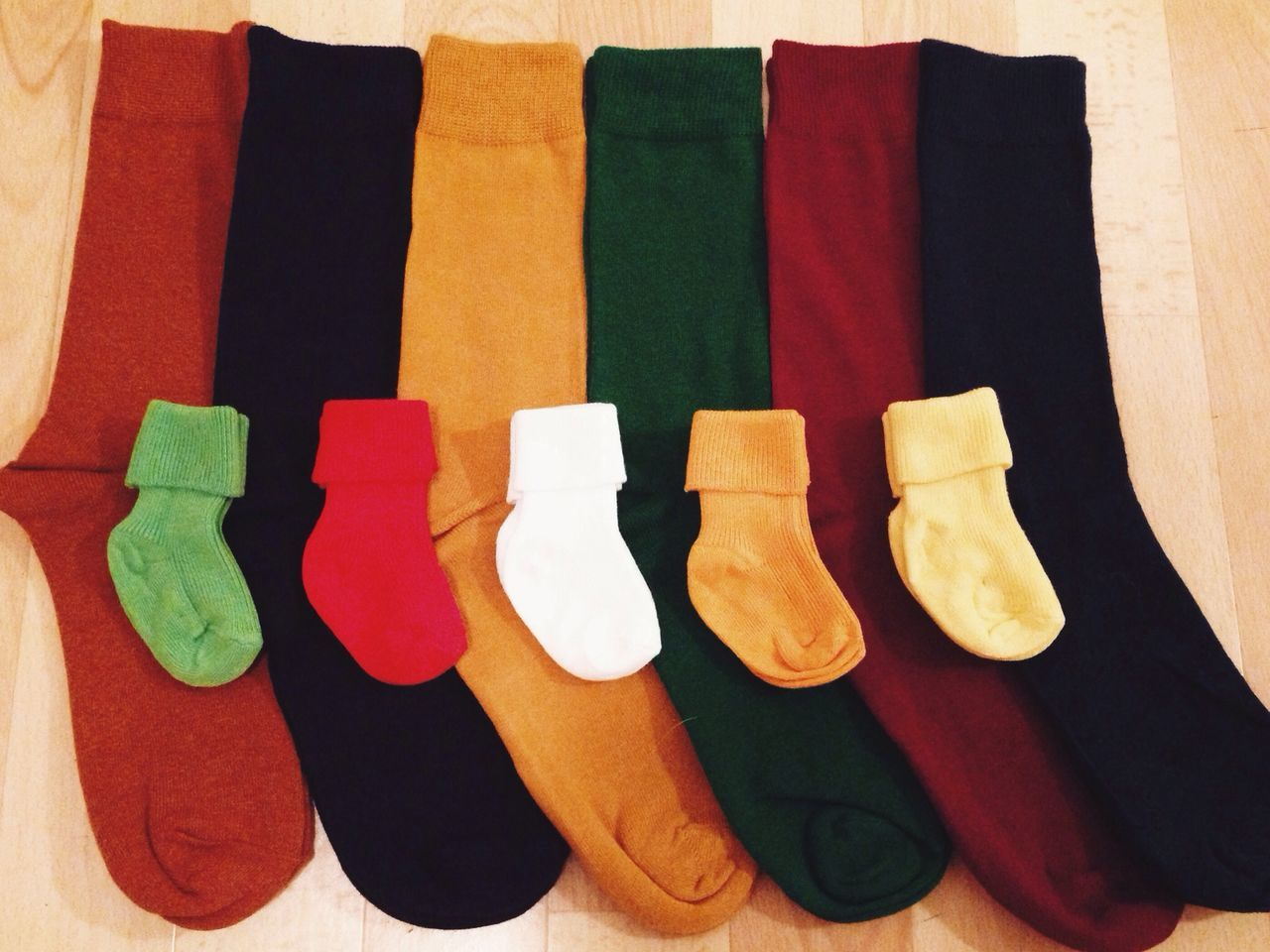 Comparison of small socks with large socks