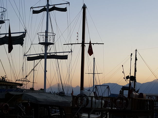 Sunset Silhouette Dusk Sailboat Masts Sailboats Sailboat In Sunset Sailboats Evening Evening Sky Harbour & Ships Harbour View Harbor View Harbour Antalya Antalya Turkey