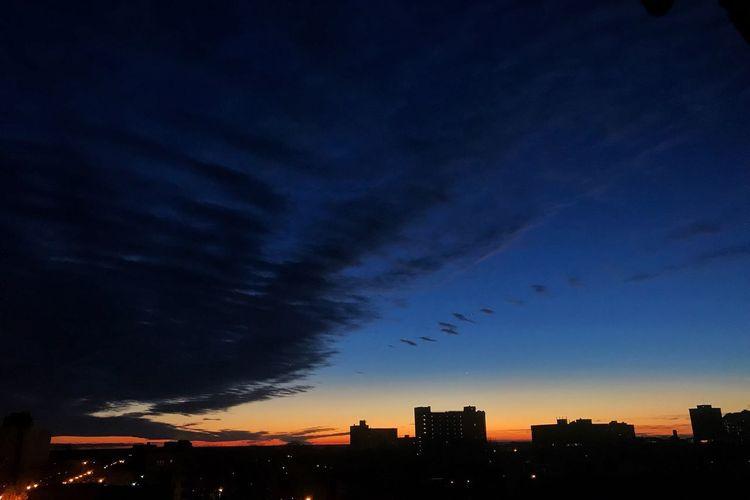 Sunrise Sky Clouds Sunrise Silhouette Architecture Sky City No People