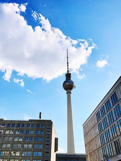 Fernsehturm Berlin Architecture Built Structure Tall - High Communication Building Exterior Tower Spire  Television Tower Travel Destinations City Low Angle View Sky Day Travel Outdoors Tourism Cloud - Sky Modern No People Skyscraper