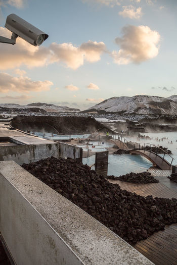 A security camera monitoring the Blue Lagoon and it's bathers from the luxury packages private balcony. Bathing Blue Lagoon Cctv Day Geothermal  Geothermal Spa Iceland Lagoon Outdoors Scenics Security Security Camera Sky Sunset Swimming Tourism Tourist Tourists Travel Travel Destinations Traveling Volcanic  Water Winter