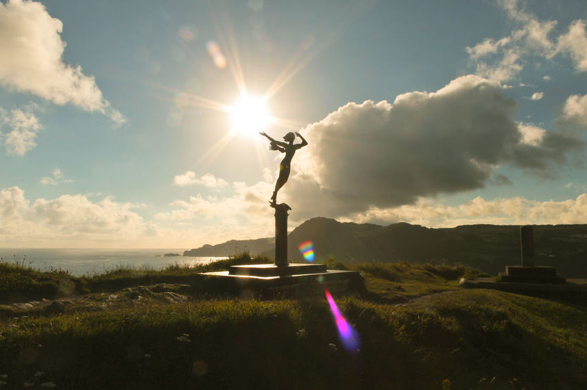 Angel In The Morning Sun Architecture Beauty In Nature Bronze Day Devon Field Grass Landscape Landscapes Nature Outdoors Rural Scene Sky Statue Sunlight Travel Destinations