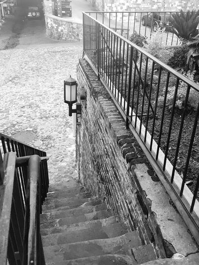 Simplicity Natural Beauty Historic Steps Savannah Iron Railing Cobblestone Blackandwhite Stairway Architecture