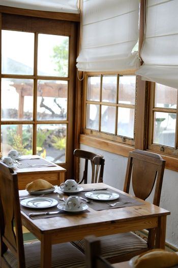 Farmhouse Home Showcase Interior Dining Room Place Setting Chair Table Window Home Interior Furniture