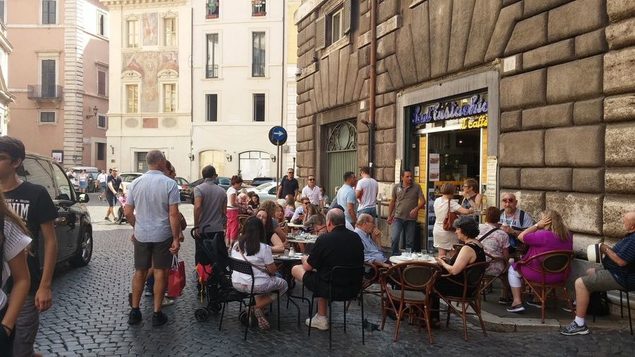 Large Group Of People Building Exterior Architecture Built Structure City Street Men Person Lifestyles Walking City Life Standing Full Length Leisure Activity Transportation Rome Outdoors Italy Day Crowd Cafe Sainteustache Saint Eustachio Coffee Travel