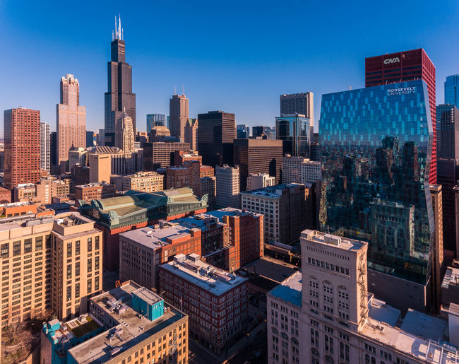 Bird's View Architecture Chicago Chicago Architecture Drone  Illinois Road Skyline USA Aerial Bird's View, Buildings Drone Footage, Highrises Reflections Sky Street