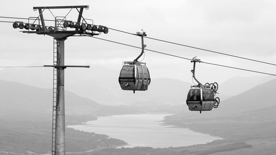 Aonach Mor Cable Car Rendez-Vous With Loch Eil Gondola Loch Eil Mountain Bike Nevis Range Mountain Resort Adventure Beauty In Nature Cable Day Fort William Hanging Mountain Mountain Range Nature Outdoors Overhead Cable Car Scenics Ski Lift Sky Summer Transportation