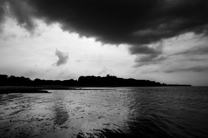 Sea And Clouds Sea Sky And Clouds Seaside Shillouette Water Reflections Blackandwhite Black And White Black & White