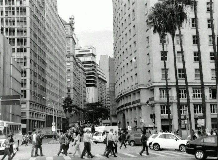Analogue Photography Brazil Porto Alegre Routine Analog Architecture Blackandwhite Building Exterior Buildings Car City City Life Day Large Group Of People Outdoors People Skyscraper Street The Week On EyeEm Scape City Scape Grey GreyDay