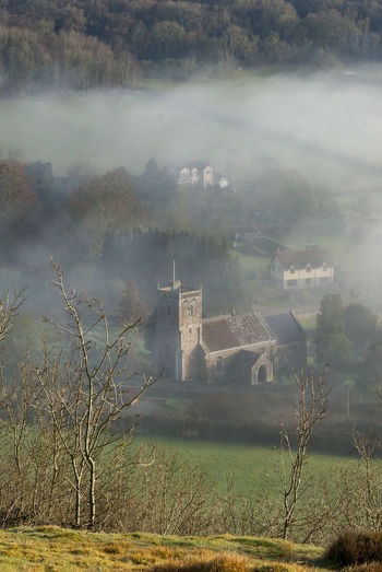 Compton Bishop Church Church Mendip Hills Architecture Building Building Exterior Built Structure Cloud - Sky Compton Bishop Day Field Fog History Land Nature No People Old Outdoors Plant Scenics - Nature Sky The Past Travel Destinations Tree