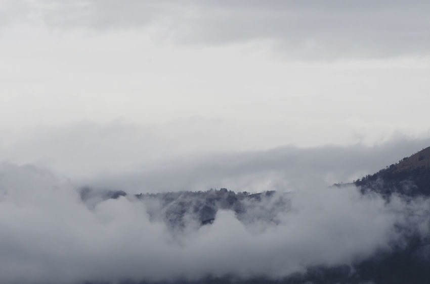 foggy and misty weather Cloud - Sky Sky Scenics - Nature Beauty In Nature No People Nature Fog Day Mountain Non-urban Scene Environment Tranquil Scene Smoke - Physical Structure Tranquility Outdoors Landscape Copy Space Land Geology Power In Nature