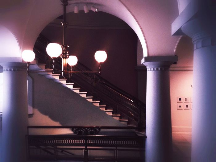 Illuminated Indoors  Railing Built Structure Steps And Staircases Architecture Staircase Lighting Equipment Washington, D. C.