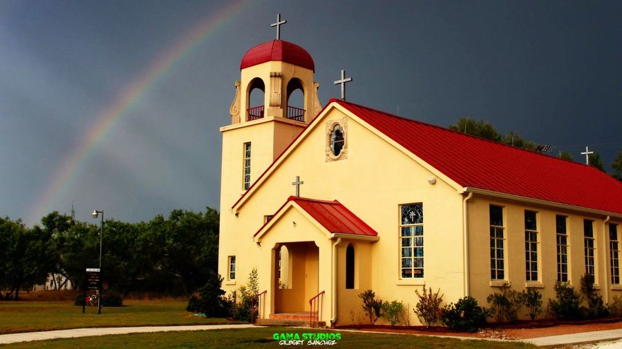 Little church in Tilden, Texas (St. Joseph's Catholic Church). Located south of San Antonio, Texas. I was actually trying to catch lightning as the storm clouds in the background approached. Texas Texas Landscape Texas Skies Church Churches Stormy Weather Approaching Storm Clouds Rainbow Light Rays Light Rays Penetrating First Eyeem Photo