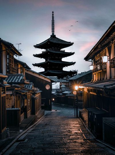 Early morning in the traditional Kyoto city Japan Kyoto Travel Architecture Built Structure Sky Building Exterior Building Religion Belief Cloud - Sky No People Nature Spirituality Place Of Worship City Dusk Travel Destinations Sunset Outdoors Street My Best Photo My Best Photo The Art Of Street Photography