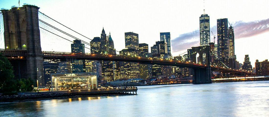 The Brooklyn Bridge from The Brooklyn Bridge Park in New York City