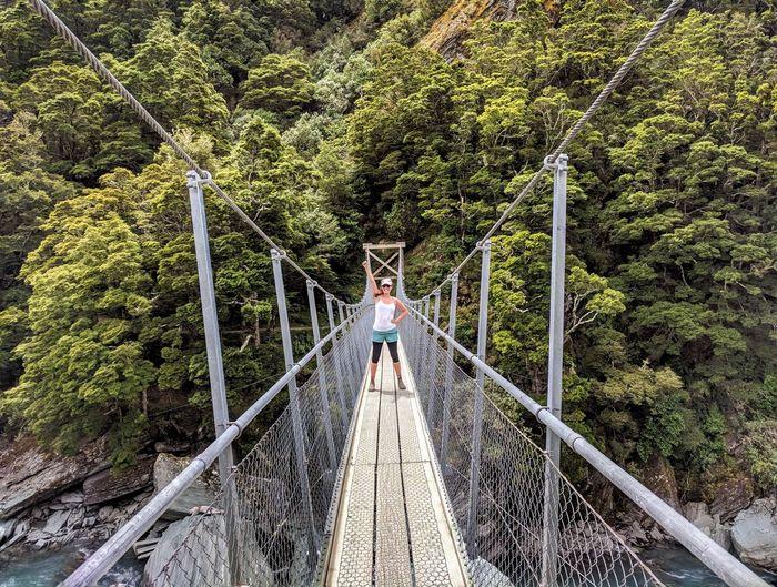 Travel Travelling Woman Power Tree Footbridge Full Length Bridge - Man Made Structure Rope Bridge Suspension Bridge Railing A New Beginning International Women's Day 2019