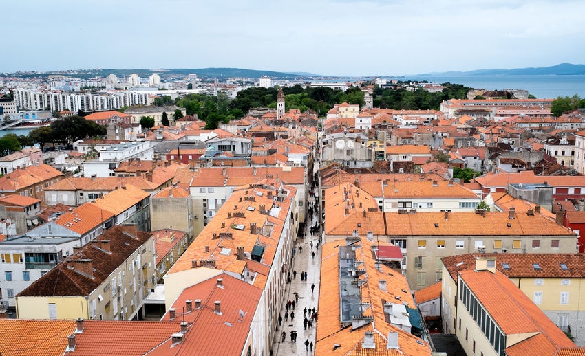 Croatia Zadar Architecture Building Exterior Built Structure City Cityscape Community Crowded Day High Angle View House Outdoors Residential Building Residential District Roof Sky Tiled Roof  Town